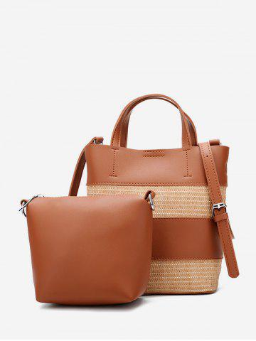 2 Piece Straw Panel Shoulder Bag Set