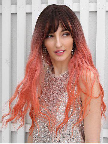 Synthetic Ombre Long See-through Bang Wavy Wig