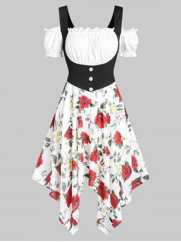 Cold Shoulder Flower Asymmetric Handkerchief Dress