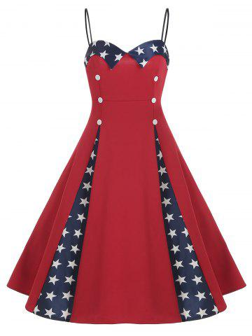 Star Print Button Embellished Sleeveless Dress