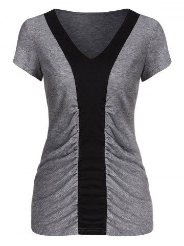 Contrast V Neck Ruched Tee