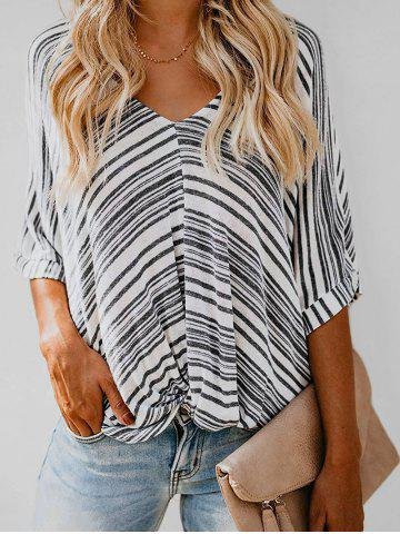 V Neck Striped Cuffed Twist Dolman Top