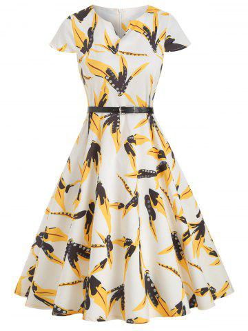 Short Sleeves Printed Belted Notched Flare Dress