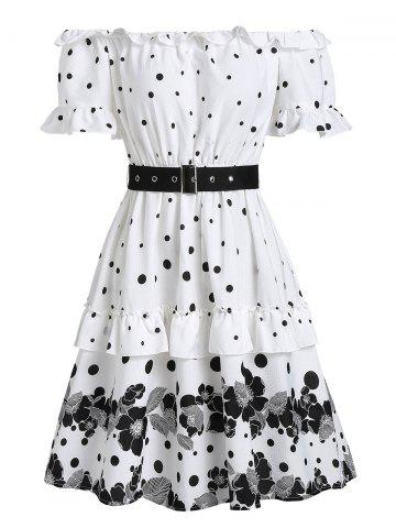 Off Shoulder Polka Dot Flower Flounce Dress