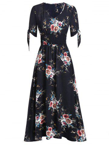 Floral Print Smocked Fit And Flare Maxi Dress