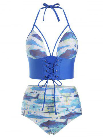 Fish Print Lace-up Caged Tankini Swimsuit