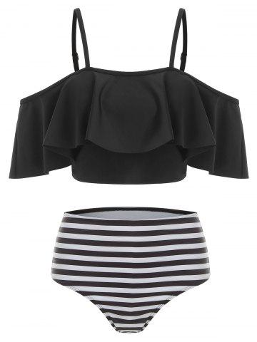 Striped Overlay Cami Tankini Swimsuit