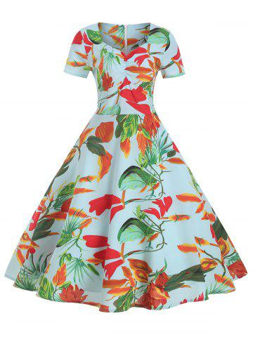 V Neck Floral Print Ruched Flare Dress