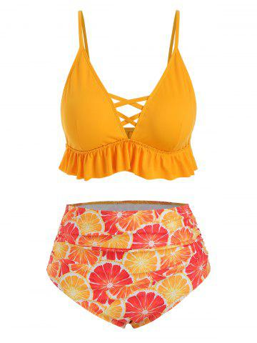 f71cd6500d6 Contrast Orange Ruffles Plus Size Bikini Swimsuit · Contrast Orange Ruffles Plus  Size Bikini Swimsuit - RUBBER DUCKY YELLOW ...