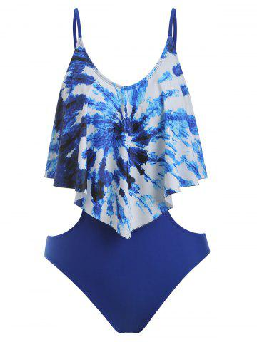 Tie Dye Flounce One-Piece Cut Out Swimsuit