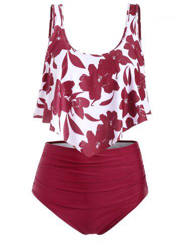 Floral Flounce Ruched High Waisted Tankini Swimsuit