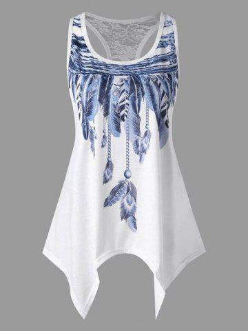 Plus Size Lace Racerback Feather Print Tunic