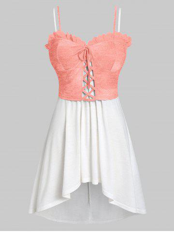Plus Size High Low Tank Top with Lace Up Waistcoat