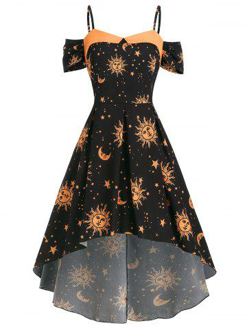 High Low Cold Shoulder Star Sun And Moon Plus Size Dress