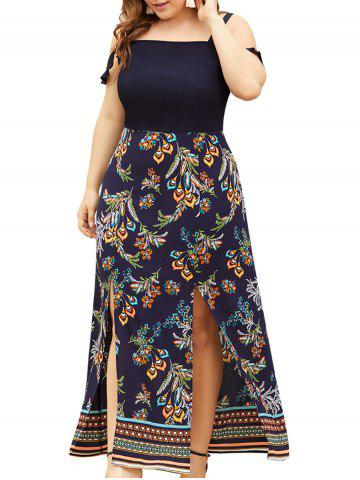 Plus Size High Slit Floral Bohemian Maxi Dress