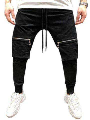 Solid Color Zipper Pocket Jogger Pants