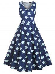 Midi Sleeveless Stripes Star Print Plus Size Dress -