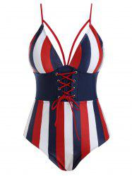Strappy Stripes Lace Up Plus Size Swimsuit -