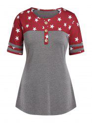 Plus Size Star Print Button T Shirt -