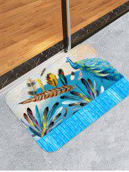 Peacock Feather Wooden Printed Design Floor Mat -