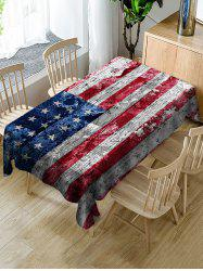 Wood Grain American Flag Pattern Fabric Tablecloth -