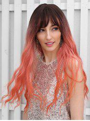 Synthetic Ombre Long See-through Bang Wavy Wig -