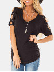 Rivet Ruched Lattice T-shirt -