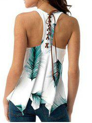 U Neck Feather Print Lace Up Tank Top -