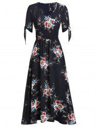 Floral Print Smocked Fit And Flare Maxi Dress -