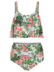 Floral Print Padded Overlay Tankini Swimsuit -
