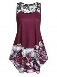 Plus Size Floral Butterfly Print Swing Tank Top -