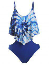Tie Dye Flounce One-Piece Cut Out Swimsuit -