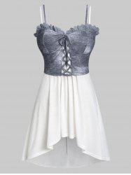 Plus Size High Low Tank Top with Lace Up Waistcoat -