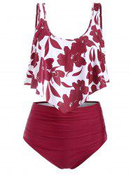 Floral Flounce Ruched High Waisted Tankini Swimsuit -