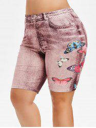 Plus Size Butterfly Jean 3D Print Shorts -