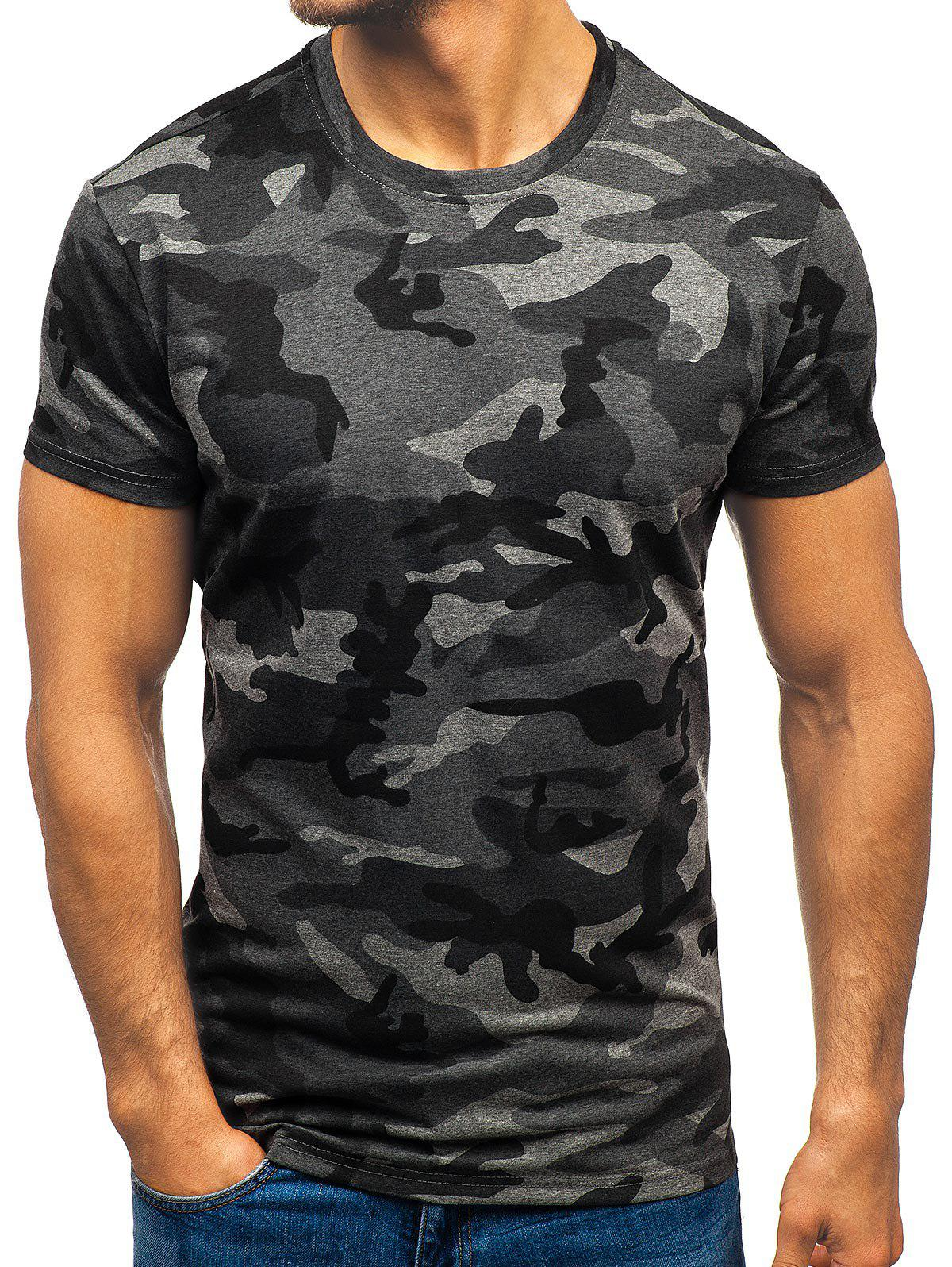 Affordable Camouflage Print Crew Neck Tee