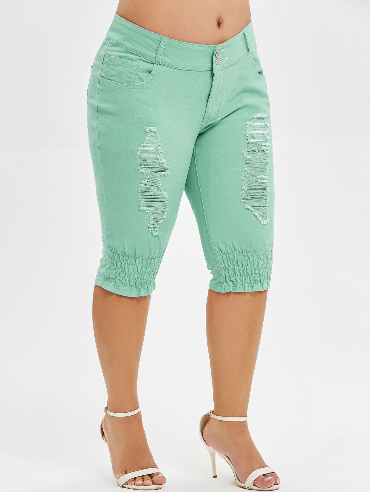 Shops Plus Size Ripped Knee Length Jeans