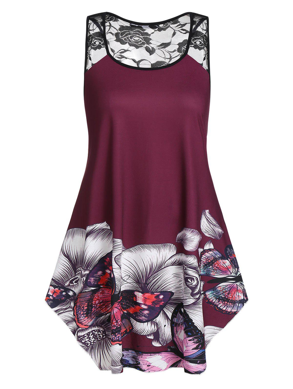dfd0bd26bc1 34% OFF] Plus Size Floral Butterfly Print Swing Tank Top | Rosegal