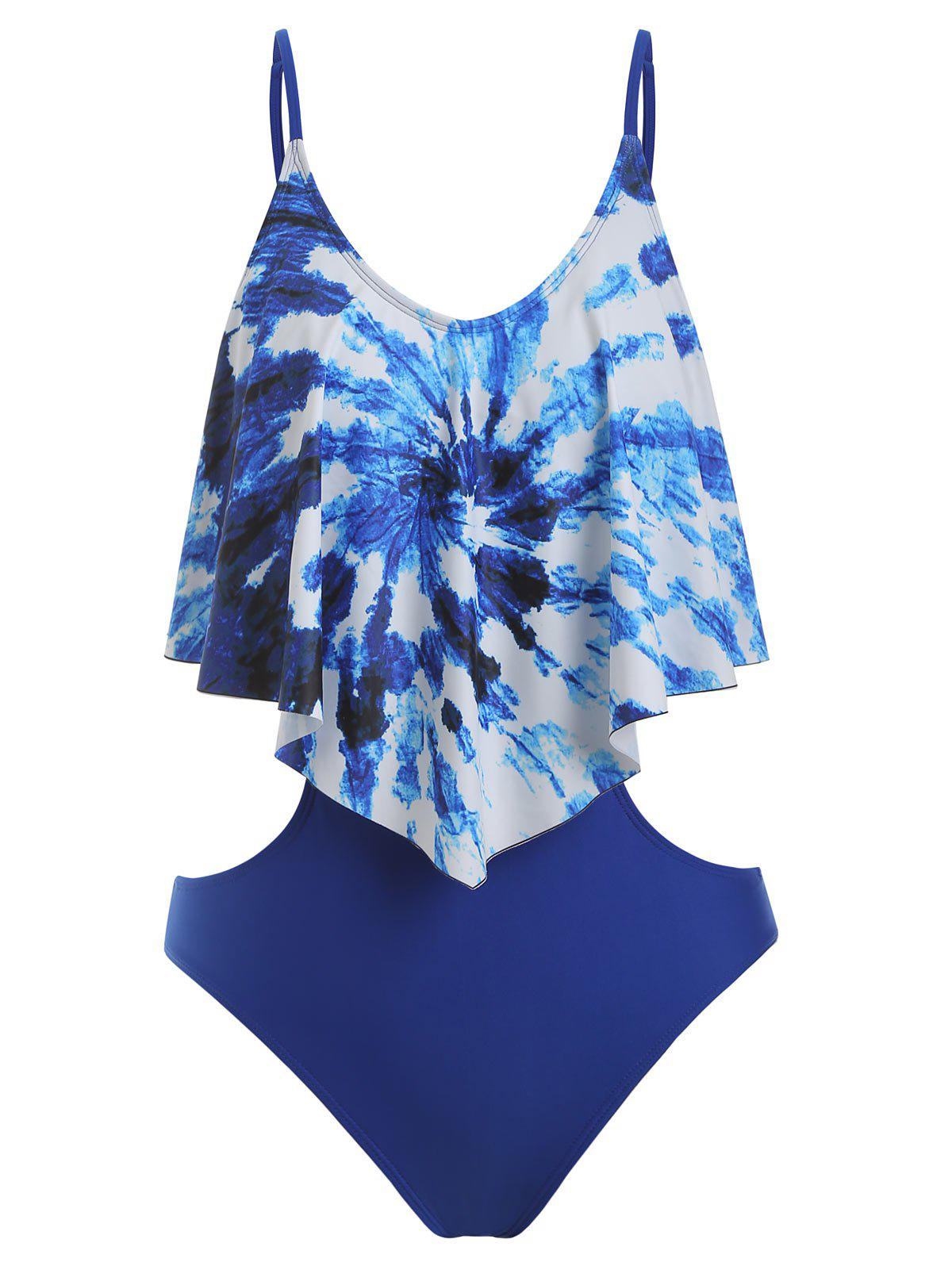 Fancy Tie Dye Flounce One-Piece Cut Out Swimsuit