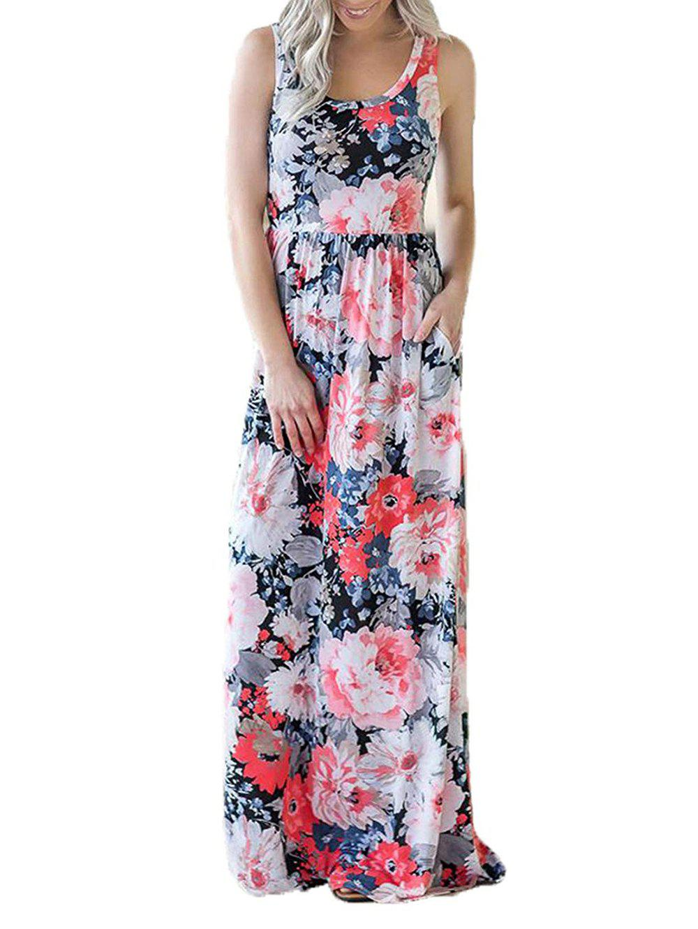 Affordable Floral Sleeveless Floor Length Dress