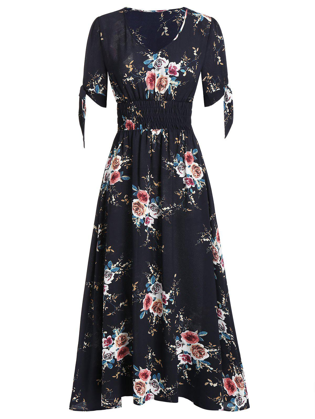 Fashion Floral Print Smocked Fit And Flare Maxi Dress