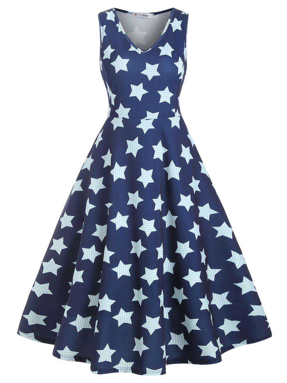 Fashion Midi Sleeveless Stripes Star Print Plus Size Dress