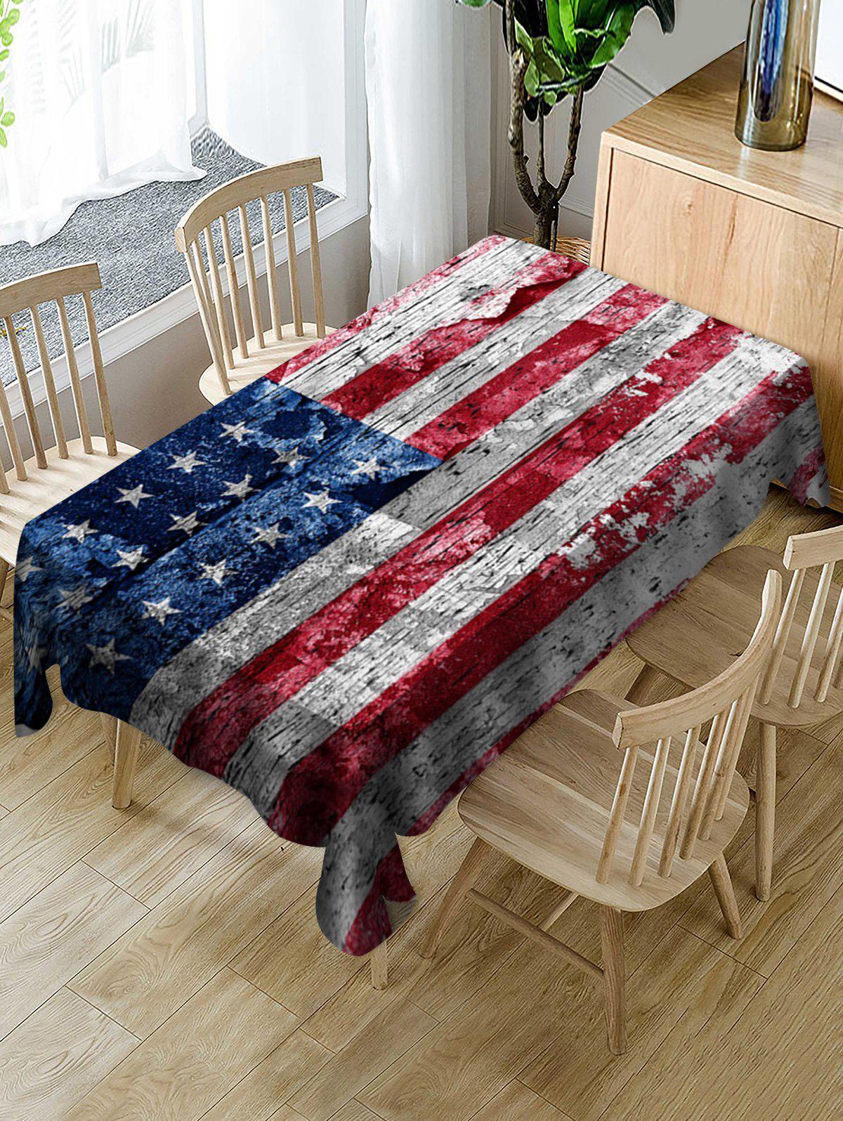 Latest Wood Grain American Flag Pattern Fabric Tablecloth