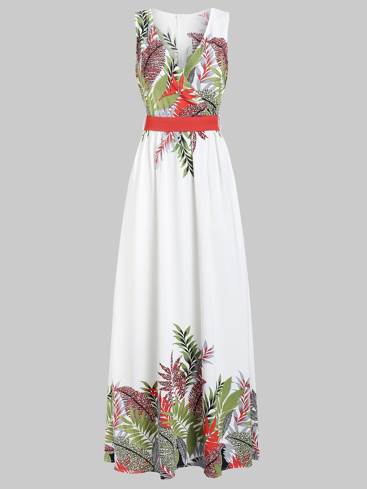 Unique Plunge Leaf Print Zippered A Line Dress