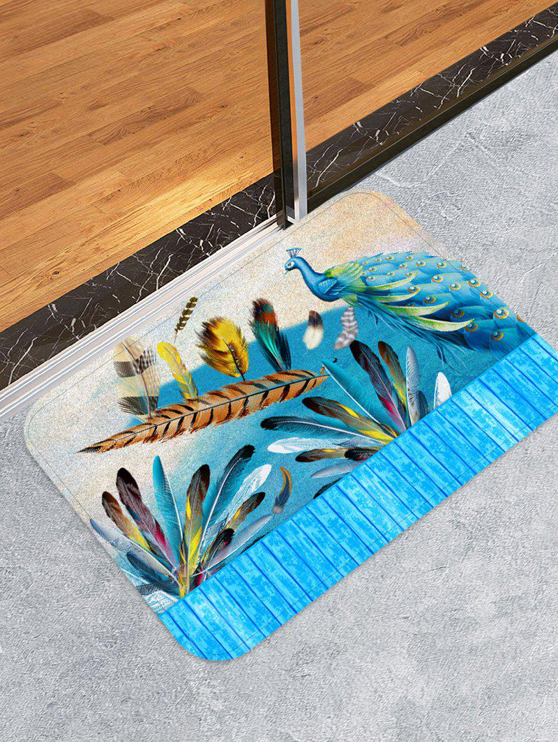 Best Peacock Feather Wooden Printed Design Floor Mat