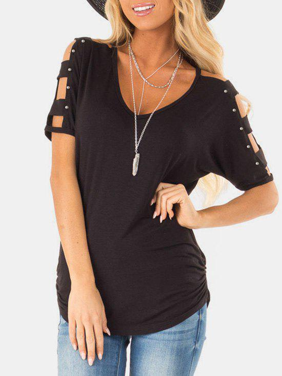 Cheap Rivet Ruched Lattice T-shirt