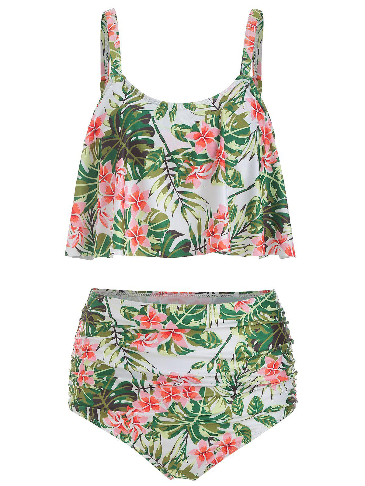 Online Floral Print Padded Overlay Tankini Swimsuit