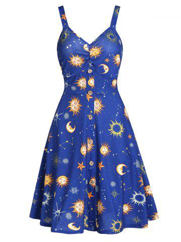 Button Front Moon and Star A Line Dress
