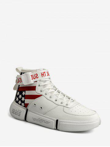 American Flag Pattern High Top Skate Shoes