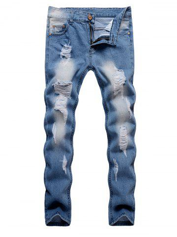 Ripped Design Zipper Fly Casual Jeans